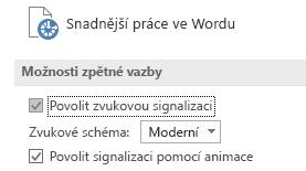 Částečné zobrazení nastavení Usnadnění přístupu ve Wordu