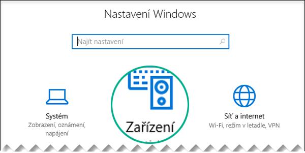 V dialogovém okně Nastavení Windows vyberte Zařízení.