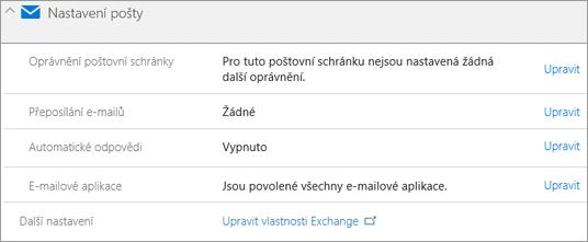Snímek obrazovky: Nastavení Office 365 pošty
