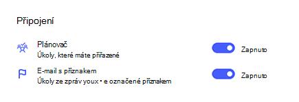 Snímek obrazovky s připojeními v nastaveních s Plannerem a e-mailem označeným příznakem