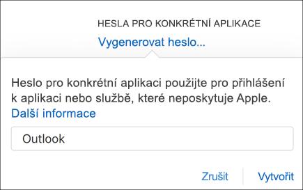 Zadejte název pro heslo aplikace