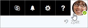 Snímek obrazovky s obrázku účtu v řádku nabídek na Office 365.