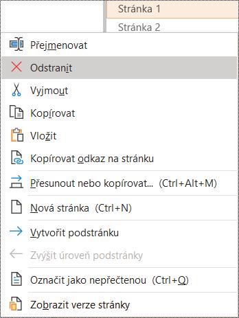Dialogové okno pro odstranění stránky ve OneNotu pro Windows