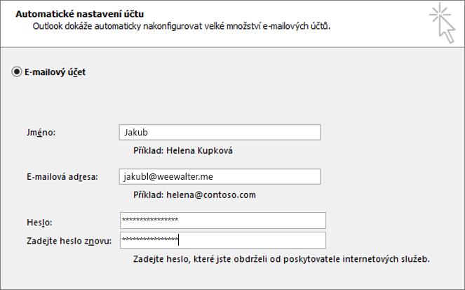 Zadejte heslo aplikace do obou polí pro heslo.