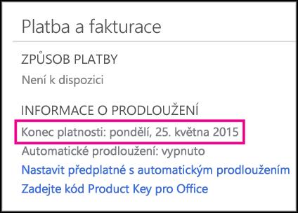 Podrobnosti o obnovení předplatného na stránce účtu Office 365
