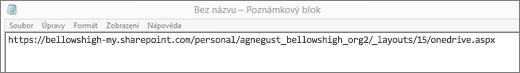 Vložte adresu URL do aplikace, jako je třeba Poznámkový blok.