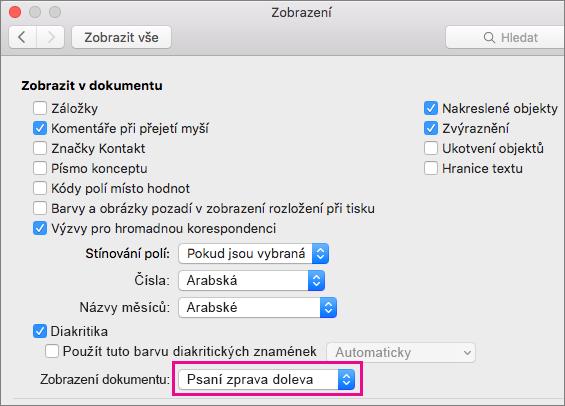 Možnosti zobrazení dokumentu v dialogovém okně Zobrazit