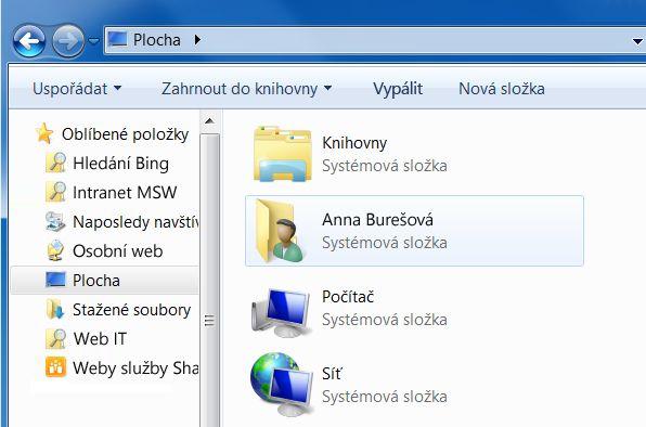 Složka Plocha ve Windows7