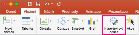 Zobrazuje kartu Vložit v PowerPointu 2016 pro Mac