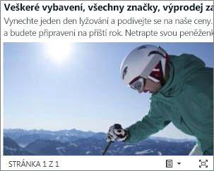 Vložený wordový dokument oznámení o prodeji lyží