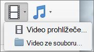 Snímek obrazovky znázorňuje film prohlížeče a video ze souboru možností z rozevíracího seznamu ovládacího prvku Video. Vyberte možnost pro vložení videa do prezentace aplikace PowerPoint.