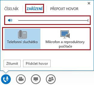 Snímek obrazovky s nabídkou zvukového zařízení ve schůzce