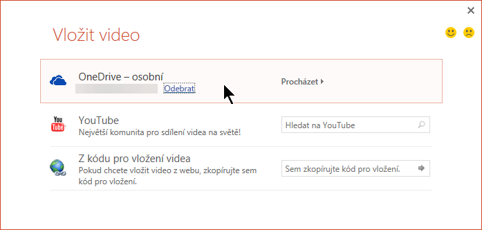 Dialog vložit Video obsahuje volby pro YouTube, Facebook nebo OneDrive.