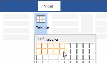Vložení tabulky přetažením, pomocí kterého vyberete požadovaný počet buněk