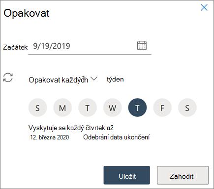 Vytvoření opakované schůzky v Outlooku na webu