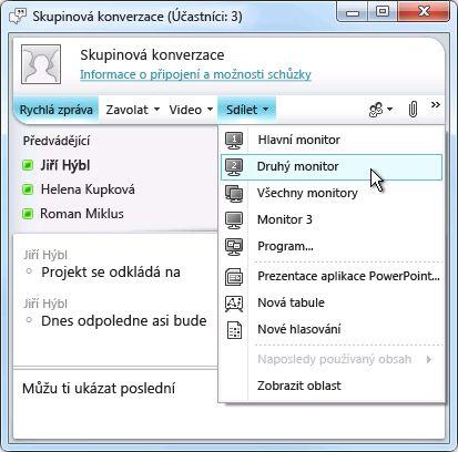 Okno aplikace Microsoft Lync s možnostmi sdílení obrazovky