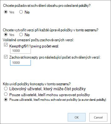 Možnosti nastavení seznamu v SharePointu Online s povoleným vysprávum verzí