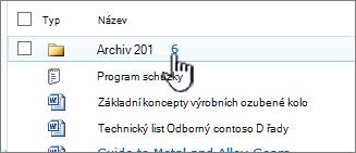 Knihovna dokumentů SharePoint 2010 se zvýrazněným složky