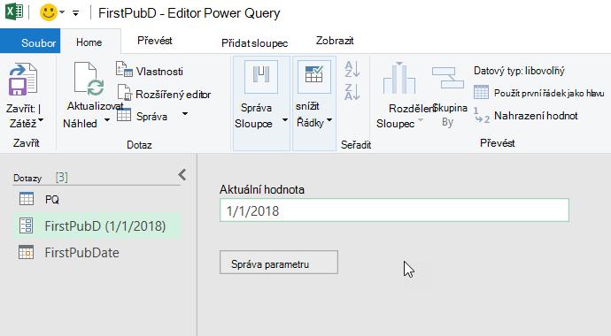Editor Power Query zobrazující parametr