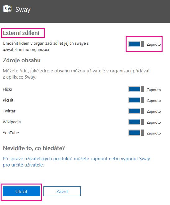 """""""Externí sdílení"""" můžete zapnout nebo vypnout podle toho, co je pro vás nejvýhodnější, apotom kliknout na Uložit."""