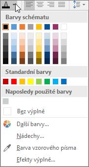 Paleta Barva písma