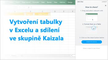 Snímek obrazovky: Vytvoření tabulky v aplikaci excel a sdílet ve skupině kaizala