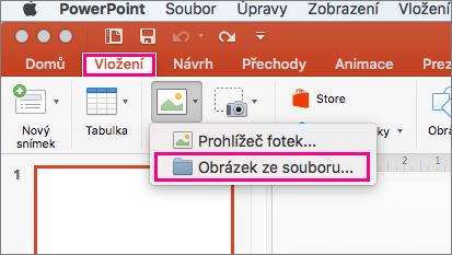Zobrazuje cestu Vložit > Obrázky > obrázek z příkazu Vložit soubor v PowerPointu 2016 pro Mac