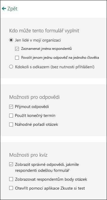 Nastavení pro formuláře a kvízy