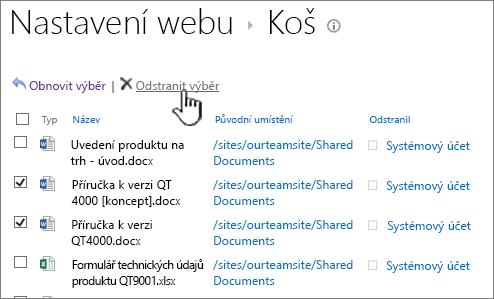 SharePoint 2013 2 úrovně odpadkový koš tlačítko pro odstranění