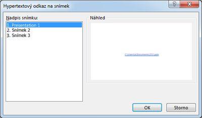 Dialogové okno Hypertextový odkaz na snímek