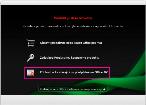 V okně deaktivovaného produktu vyberte Přihlásit se k stávajícímu předplatnému Office 365
