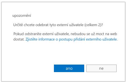 Upozornění, když se chystáte odstranit účet externího uživatele