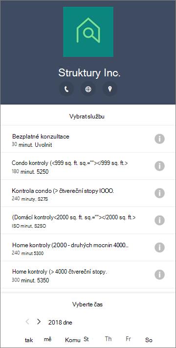 Příklad formuláře rezervace pro firemní domácí služby