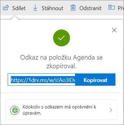 Potvrzení kopírování odkazu při sdílení souborů přes odkaz na OneDrivu