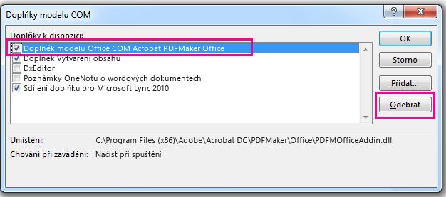 Zaškrtněte políčko pro doplněk modelu COM Acrobat PDFMaker Office a klikněte na odebrat.