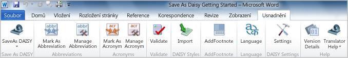 Karta Accessibility (Usnadnění) doplňku Save as DAISY na pásu karet