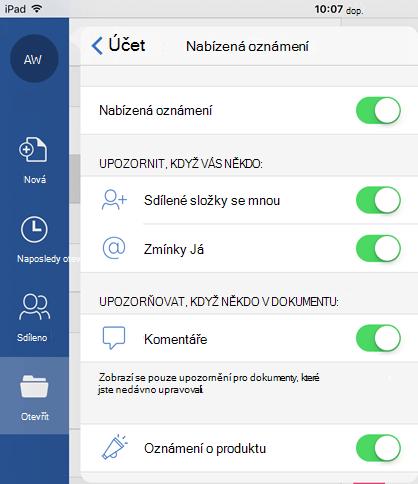 Klepnutím na tlačítko profil můžete nakonfigurovat nabízená oznámení pro sdílené dokumenty.