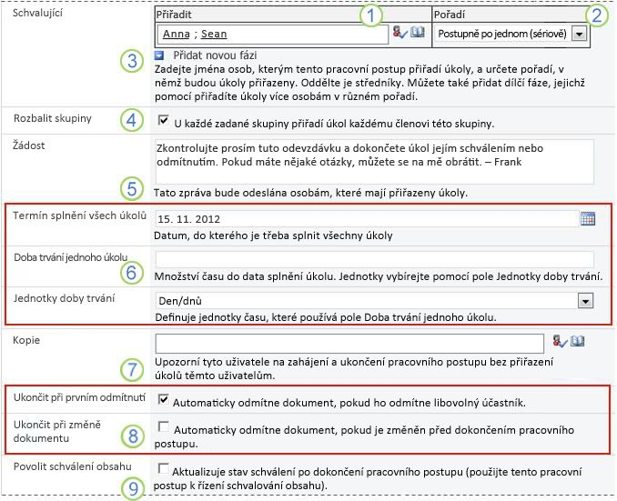 Výchozí hodnoty pro přidání pracovního postupu s vyznačenými poli