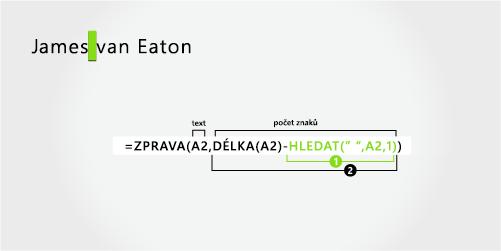 Vzorec pro oddělení jména a příjmení, které se skládá ze dvou částí