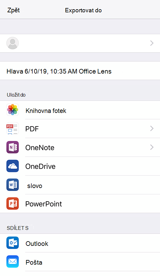 Možnosti exportu v Office Lens pro iOS