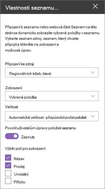 Podokno webová část vlastnosti seznamu