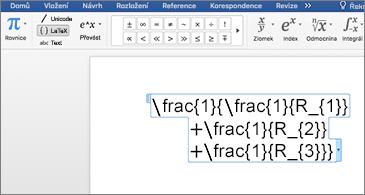 Wordový dokument, který obsahuje rovnici LaTex