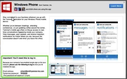 Informace o dočasném heslu v okně Windows Phone