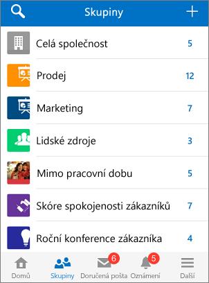 Snímek obrazovky skupin v mobilní aplikaci Yammer