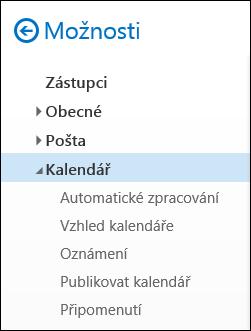 Outlook na webu: možnosti kalendáře
