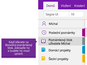 Snímek obrazovky se seznamem poznámkových bloků ve OneNotu