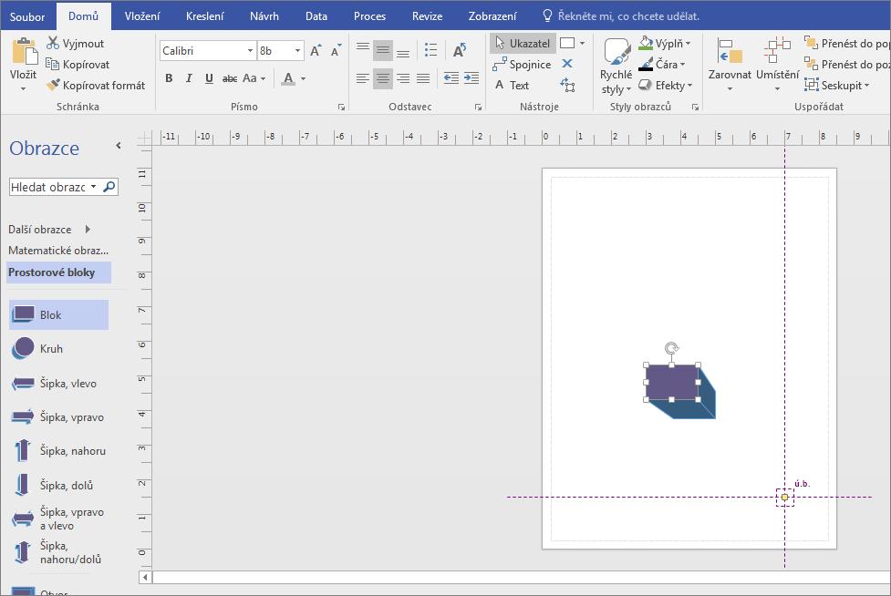 Ze vzorníku bloky s prostorovým vzorníku přetáhněte obrazec na stránce výkresu.