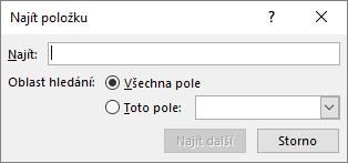 Do dialogového okna Najít položku napište jméno pro vyhledání příjemce.