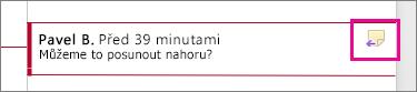 Zvýrazněná ikona Odpovědět na komentář