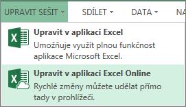 Příkaz Upravit v Excelu Online v nabídce Upravit sešit